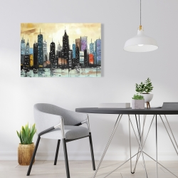 Canvas 24 x 36 - Skyline on abstract cityscape