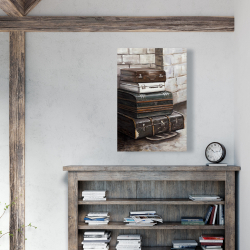Canvas 24 x 36 - Four old traveling suitcases