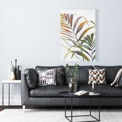 Toile 24 x 36 - Feuilles de palmiers tropicaux à l'aquarelle