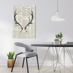 Canvas 24 x 36 - Deer horns with newspaper background