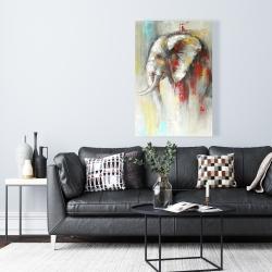 Toile 24 x 36 - éléphant abstrait avec éclats de peinture
