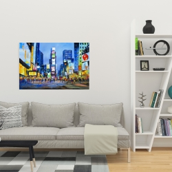 Canvas 24 x 36 - Cityscape with colorful ads