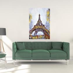 Toile 24 x 36 - Tour eiffel abstraite avec éclats de peinture