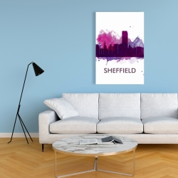 Canvas 24 x 36 - Sheffield city color splash silhouette