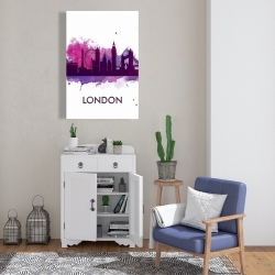 Canvas 24 x 36 - Purple silhouette of london