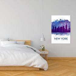 Canvas 24 x 36 - Blue silhouette of new york city