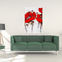 Canvas 24 x 36 - Red poppies with texture