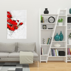 Canvas 24 x 36 - Abstract red flowers with texture