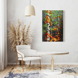 Canvas 24 x 36 - Colorful dotted leaves birches