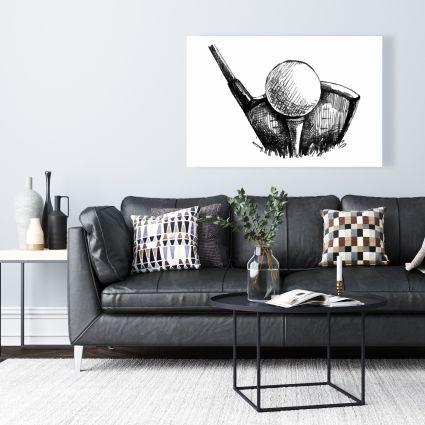 Golf ball black and white