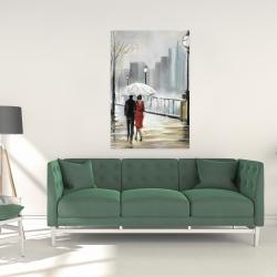 Canvas 24 x 36 - Couple walking under the rain