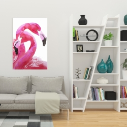 Canvas 24 x 36 - Watercolor flamingo love
