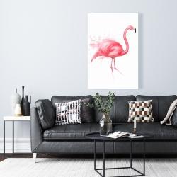 Canvas 24 x 36 - Pink flamingo watercolor