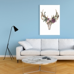 Canvas 24 x 36 - Deer skull with flowers