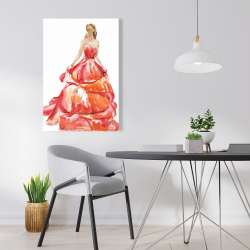 Canvas 24 x 36 - Beautiful red prom dress