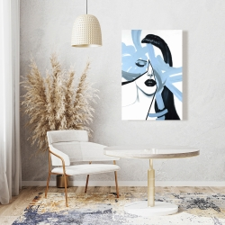 Canvas 24 x 36 - Abstract blue woman portrait
