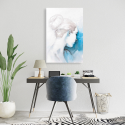 Canvas 24 x 36 - Watercolor abstract girl with hair bun