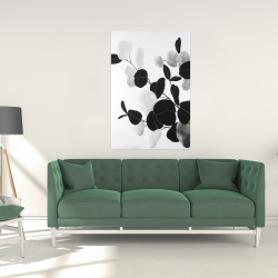Canvas 24 x 36 - Grayscale branches with leaves