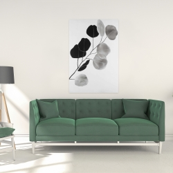Canvas 24 x 36 - Grayscale branch with round shape leaves