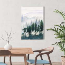 Canvas 24 x 36 - Mountains landscape in watercolor