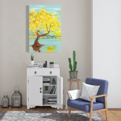 Canvas 24 x 36 - Spring lanscape with a tree in a lake