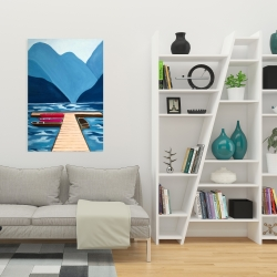 Canvas 24 x 36 - Lake, quai & mountains