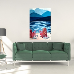 Canvas 24 x 36 - Lake, dock, mountains & chairs