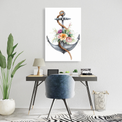 Canvas 24 x 36 - Boat anchor with flowers