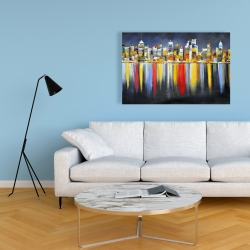 Canvas 24 x 36 - Colorful reflection of a cityscape by night