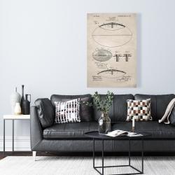 Canvas 24 x 36 - Beige blueprint of a foot ball