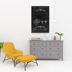 Canvas 24 x 36 - Black blueprint of a foot ball