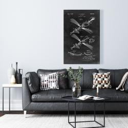 Canvas 24 x 36 - Black blueprint of a fish lure