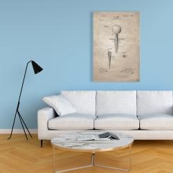 Canvas 24 x 36 - Beige blueprint of golf tee