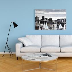 Canvas 24 x 36 - Brooklyn bridge with sailboats