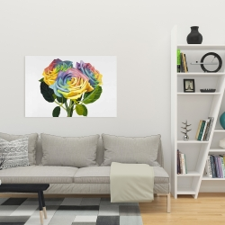 Canvas 24 x 36 - Bouquet of rainbow roses
