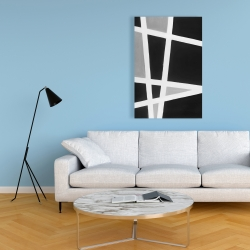 Canvas 24 x 36 - Black and white abstract lines