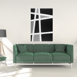 Canvas 24 x 36 - Black and white abstract shapes