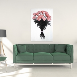 Canvas 24 x 36 - Bouquet of coral roses