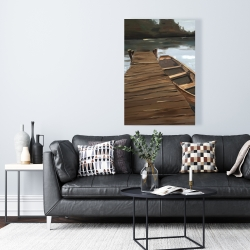 Canvas 24 x 36 - Lake, dock and boat