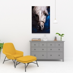 Canvas 24 x 36 - White horse on blue background