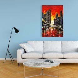 Canvas 24 x 36 - Abstract sunset on the city