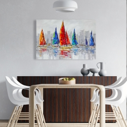 Canvas 24 x 36 - Colorful boats near a gray city