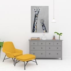 Canvas 24 x 36 - Steel blue giraffe