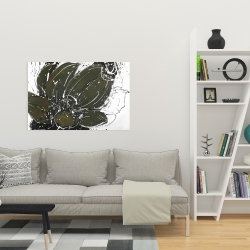 Canvas 24 x 36 - Abstract flower with paint splash