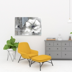 Canvas 24 x 36 - Monochrome and silver flowers