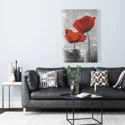 Canvas 24 x 36 - Two red flowers on a grayscale background