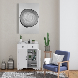 Canvas 24 x 36 - Grayscale round wood log