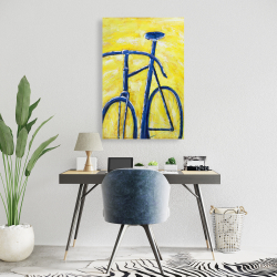 Canvas 24 x 36 - Blue bike on yellow background