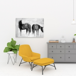 Canvas 24 x 36 - Horses silhouettes in the mist