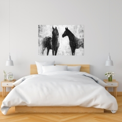 Canvas 24 x 36 - Black and white horses